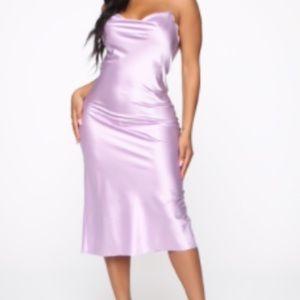 FASHION NOVA lavender silk slip dress